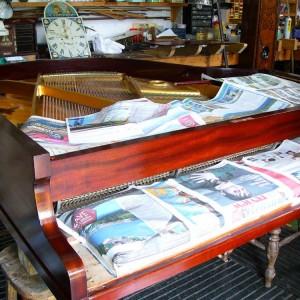 Mahogany baby grand piano in for restoration & re-polishing